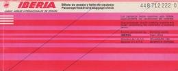 Ticket/Billet D'Avion. IBERIA. Paris/Madrid/Malaga/Madrid/Paris. 1976. - Europe