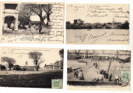 RIVIERE GAMBIE Lot De 4 Cartes Postales  (1909) : Bathurst - Fattatenda - Ste Marie - Government House - Gambie