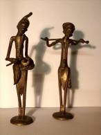 DEUX FIGURINES ART AFRICAIN - BURKINA FASSO.  Un Musicien Et Un Berger - African Art