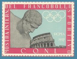 C.O.N.I. - MOSTRA INTERNAZIONALE DEL FRANCOBOLLO SPORTIVO - ROMA 1952 - CARTOLINA NUOVA - Pubblicitari