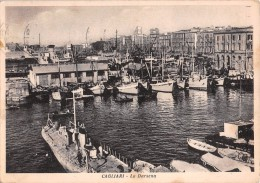 """03771 """"CAGLIARI - LA DARSENA"""" ANIMATA, BARCHE.  CART.  SPED. 1954 - Cagliari"""
