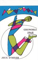 CPSM GRENOBLE Jeux Olypiques D' Hiver 1968 J.O. OLympisme Patinage Illustrateur - Cartes Postales