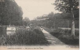 """CPA De 1910. CHATEL-CENSOIR """"Yonne 89"""" Vue Prise Au Bord Du Canal """"Bateaux Et Promeneurs"""" - France"""