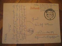 Luneburg 1944 Feldpost Swastika Eagle Cancel On Card Third Reich Deutsches Reich Germany - Germany