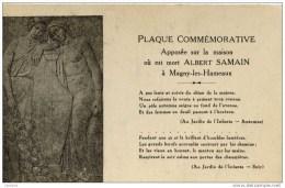 78-MAGNY-les-HAMEAUX- Plaque  Sur La Maison Ou Est Mort Albert SAMAIN Poète - Magny-les-Hameaux