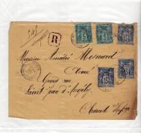 SAUMUR ST SAINT JEAN D ANGELY - 1886 - RECOMMANDEE R - SAGE 3 X 15C + 2 X 5C SUR ENVELOPPE - Marcophilie (Lettres)
