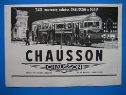 (1953) Autobus Parisien RATP CHAUSSON - Old Paper