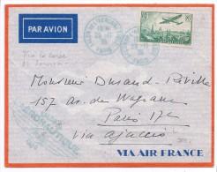 FRANCE CORSE - LETTRE PAR AVION PARIS AJACCIO SALON AERONAUTIQUE 1ER SERVICE AIR FRANCE 29 11 1936 CACHET ARRIVEE - Poste Aérienne
