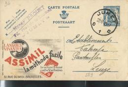 Publibel Obl. N° 589 (Langues Vivantes: ASSIMIL La Méthode Facile) Obl: Jumet 23/08/1945 - Entiers Postaux
