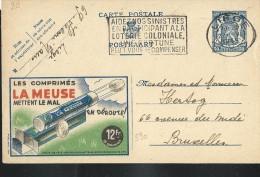 Publibel Obl. N° 590   ( Comprimés LA MEUSE) Obl: Liège: 27/06/1945 - Entiers Postaux