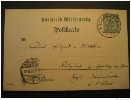 WURTTEMBERG Freuden Stadt 1896 To Rungsdorf 5pf Postal Stationery Card Postkarte Germany German States Altdeutschland - Wuerttemberg