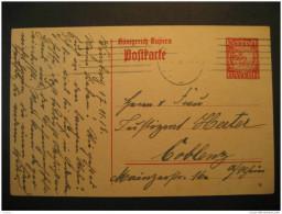 BAYERN Wurzburg 1918 To Coblenz 10pf Postkarte Postal Stationery Card Germany German States Altdeutschland Bavaria - Bavière