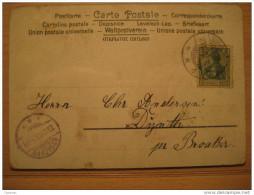 1903 Sonderburg To Broacker 5 Pf Germania On Geiranger Mountains Postcard Germany Deutsches Reich III Third Reich - Briefe U. Dokumente