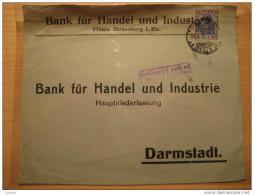1915 Strassburg To Darmstadt 20pf Germania On Frontal Cover Germany Deutsches Reich III Third Reich - Briefe U. Dokumente