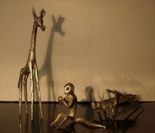 ART AFRICAIN: GIRAFE, SINGE ET CRICKET - (Cire Perdue) - African Art