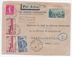 FRANCE GABON AEF - LETTRE PAR AVION PARIS PORT GENTIL 6 9 1938 CACHET ARRIVEE - Poste Aérienne