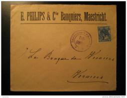 Maastricht 1917 To Verviers Bank Belgium WW1 WWI War Emmerich Censor Censored Censure Stamp On Cover Holland Netherlands - 1891-1948 (Wilhelmine)