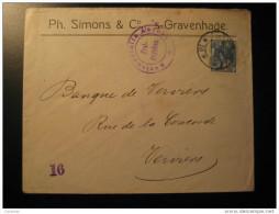 Gravenhage 1916 To Verviers Belgium WW1 WWI War Aachen Censor Censored Censure Stamp On Cover Holland Netherlands - 1891-1948 (Wilhelmine)