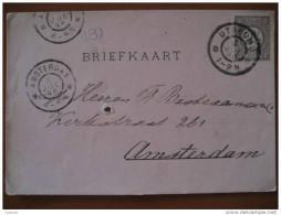 1896 Utrecht To Amsterdam 2 1/2c Stamp Sello Tarjeta Card Carte Briefkaart Holland Netherlands - Brieven En Documenten