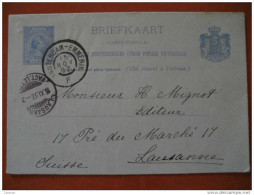 1897 Amsterdam To Lausanne SUISSE SWITZERLAND 5c Tarjeta Entero Postal Card Stationery Entier Postaux Holland Netherl... - Periode 1891-1948 (Wilhelmina)