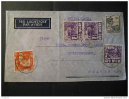 Semarang 1937 To Plauen Germany 5 Stamp On Air Mail Cover Holland Netherlands Indies Indie Inde India - Niederländisch-Indien