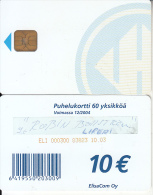 FINLAND - Elisa telecard 10 euro(for use only in Prison), CN : ELI 000300, tirage 20000, 10/03, used