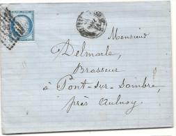 Nord -Ambulant De Gravelines à Paris D . Pour Un Brasseur à Pont Sur Sambre. LAC Ecrite à Maubeuge - 1849-1876: Classic Period