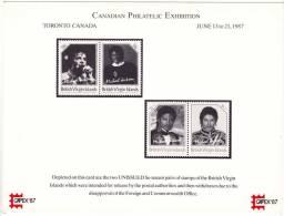 CAPEX 87  Souvenir Card Showing Unissued Michael Jackson Stamps - Iles Vièrges Britanniques