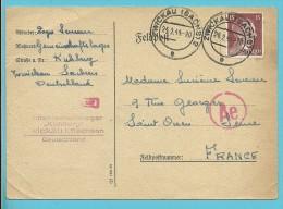 """Kaart """"Feldpost"""" Met Stempel ZWICKAU Op 24/2/44 Met Stempel GEMEINSCHAFTSLAGER KUHBERG ZWICKAU -> """"France"""" (VK) - Briefe U. Dokumente"""