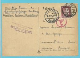 """Kaart """"Feldpost"""" Met Stempel ZWICKAU Op 18/3/44 Met Stempel GEMEINSCHAFTSLAGER KUHBERG ZWICKAU -> """"France"""" (VK) - Briefe U. Dokumente"""