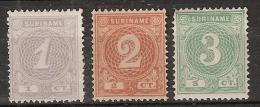 Suriname 1890-1893 Cijfers. NVPH 16,17,19 - Ongestempeld, No Gum - Suriname ... - 1975