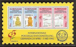 Suriname 1992 Postzegeltentoonstelling Granada. Stamp exhibition Granada.Upae America - Block - MNH/**/Postfris