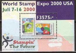 Suriname 2000 Blokje World Stamp Expo 2000 USA, stamps on stamps MNH/**/Postfris