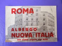 HOTEL ALBERGO PENSION MOTEL PENSIONE NUOVA ROMA ROM ROME ITALIA ITALY STICKER DECAL LUGGAGE LABEL ETIQUETTE AUFKLEBER - Etiquettes D'hotels