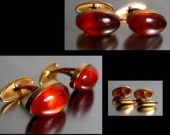 Paire D´anciens Boutons De Manchette Russes / Old  Amber Gold Platted Scuff Buttons From Russia - Manschetten- U. Kragenknöpfe