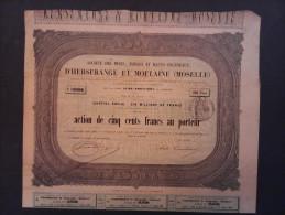 1 Sté Mines-Forges D'Herserange Moulaine (Moselle) Action 500 FR + Coupons - Actions & Titres