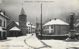 Lhuis (Ain) - La Place De L'Eglise En Hiver, Sous La Neige - Edition Duroy - France