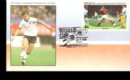 FIFA WORLD CUP 1986 MEXICO 86 BEQUIA GRENADINES OF ST VINCENT FDC ENGLAND TEAM - World Cup