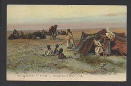 DF / TUNISIE / NOMADES DANS LE DÉSERT / CIRCULÉE EN 1907 - Tunisia