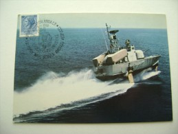 Aliscafo P.420 1981 TIMBRO MAXIMUM REGGIO CALABRIA  50° ANNIVERSARIO NAVE SCUOLA AMERIGO VESPUCCI SHIP  MARINA  MILITARE - Warships
