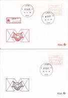 Lot De 4 FDC - Vignettes D´affranchissement P3001 - Série 24012 - 6fr 9fr 14fr 59fr - LIEGE X - 16-11-81 - FDC