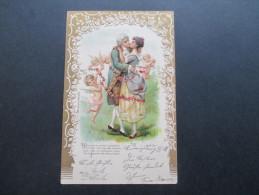 AK / Reliefkarte 1904 Liebende / Engel. Rosenketten No 1870. Liebesgötter / Kuss - Engel