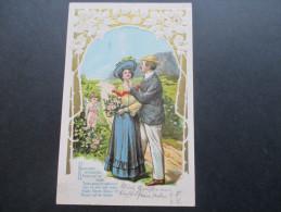 AK / Reliefkarte 1906 Liebende / Engel. Röslein Auf Der Haiden. Laubegast Nach Leuben - Engel