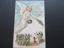 AK / Reliefkarte 1918 Feldpostkarte. Gott War Mit Uns / Engel. Soldaten - Engel