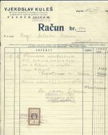 CROATIA   --  FACTURE, INVOICE  --  VJEKOSLAV KULES  --  1932  --  TIMBRE FISCAL, TAX STAMP - Facturas & Documentos Mercantiles