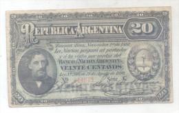 REPUBLICA ARGENTINA BILLETE DEL AÑO  1890 - VIÑETA DEL GENERAL BARTOLOME MITRE SOLD AS IS VOIR SCAN ORIGINAL - Argentina