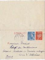 LBL35B- EP CL SEMEUSE PETAIN 1f + MERCURE 50c VOYAGEE - Cartes-lettres