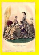 GRAVURE DE MODE Anno 1863 JOURNAL DES DEMOISELLES Fillette Chapeau Litho Lithographie Engraving Eau-forte Radierung R99 - Habits & Linge D'époque