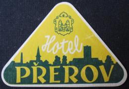 HOTEL CAMPING MOTEL INN PREROV CINOVEC CSSR CZECH CHEKOSLOVAKIA LUGGAGE LABEL ETIQUETTE AUFKLEBER DECAL STICKER
