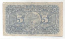 PRESIDENTE GENERAL NICOLAS AVELLANEDA AÑO 1891 5 CENTAVOS ORIGINAL BANKNOTE RARE - Argentinië